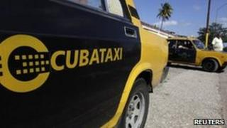 A Cubataxi cab belonging to the state company Cubataxi is parked near the company in Havana, on 8 February, 2011.