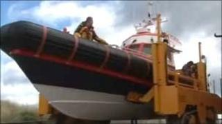 Coastguard vessel being launched
