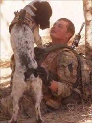 L/Cpl Tasker and dog Theo