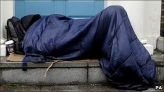 Person in sleeping bag