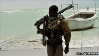 File picture of a Somali pirate in Hobyo, Somalia