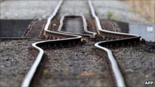 Rail line buckled by an earthquake in Christchurch on February 23, 2011.