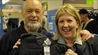 Michael Eavis with Sarah Farquhar from Oxfam