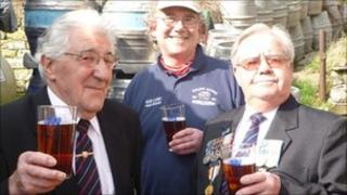 Veterans drinking beer