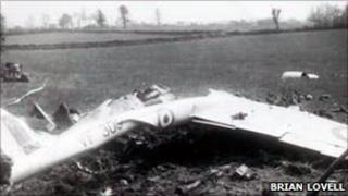 Shattered remains of the Vampire which crashed in 1952