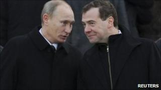 Russian PM Vladimir Putin and President Dmitry Medvedev in Moscow (23 Feb 2011)