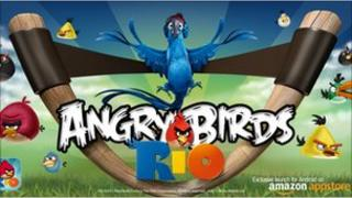 Promotional material for Angry Birds Rio in the Amazon Appstore