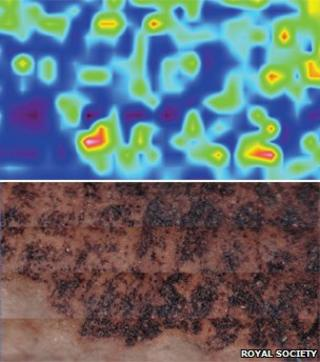 Infra-red (top) and actual image of the fossilised skin sample (Image: Royal Society)