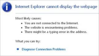 Web browser message saying cannot display page