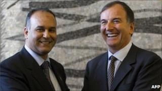 Libyan National Transitional Council's Foreign Minister Ali al-Essawi, left, and Italian Foreign Minister Franco Frattini, during a press conference, in Rome