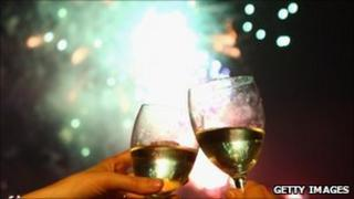 Fireworks and wine
