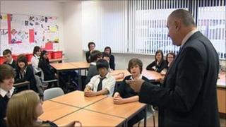 Prof Sergio Della Sala gives advice on studying to students at Tynecastle High School