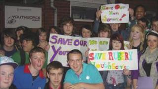 Young people protesting at a youth centre