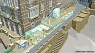 Artist's impression of the new visitor centre at Clevedon Pier