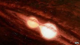 Artist's impression of binary stars