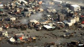 Devastated Kesennuma city in Miyagi prefecture