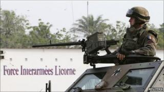 French soldier in Abidjan