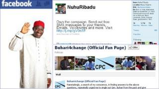 Screen grabs from PDP Goodluck Jonathan's Facebook page (left) Nuhu Ridbadu of the ACN Twitter page (top) and the fan page on Facebook for Muhammadu Buhari from the CPC.