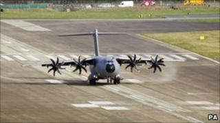 Airbus A400M Military Transporter test aircraft landing at Filton