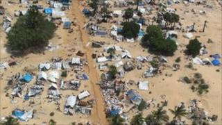 Aerial view of section of abandoned camp in former conflict zone on the Sir Lanka's north-eastern coast (file image from 23 May 2009)