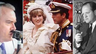 Huw Edwards commentating, the wedding of Charles and Diana, and Richard Dimbleby rehearsing for the coronation in 1953