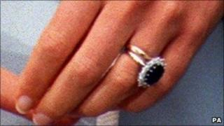 Princess Diana in 1996 with her Welsh gold wedding ring, and engagement ring
