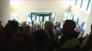 Protesters held a sit-in at the groups headquarters in Derrylin, County Fermanagh