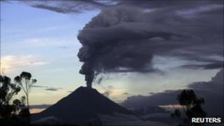 The Tungurahua volcano spews ash and steam during an eruption on 25 April 2011