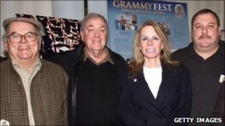 John Cossette (r) pictured in 2002 with his father Pierre (l) and other members of the Grammy awards team
