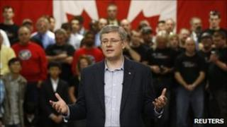 Canadian Prime Minister Stephen Harper speaking during a campaign stop