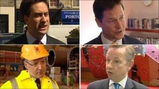Clockwise from top left, Ed Miliband, Nick Clegg, Michael Gover and John Swinney