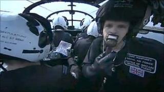 Jake Humphrey in a Lancaster aeroplane
