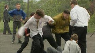 School children fighting