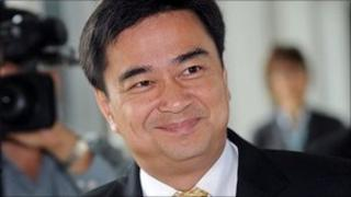 Thai Prime Minister Abhisit Vejjajiva arrives at Parliament in Bangkok (May 2011)