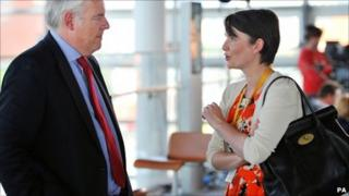 Welsh Labour leader Carwyn Jones and his Lib Dem counterpart Kirsty Williams chew the fat in the Senedd