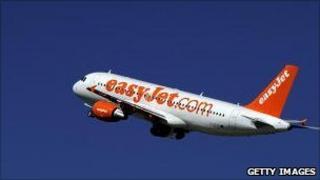 An Easyjet passenger plane takes off from Geneva international airport