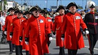 Chelsea Pensioners march in Guernsey's Liberation Day parade