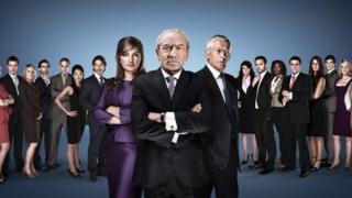 Karren Brady, Lord Sugar and Nick Hewer with this year's candidates