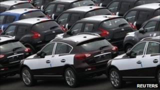 Nissan cars waiting to be exported from Japan to the US