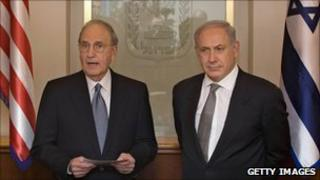 George Mitchell, left, shown with Israeli PM Netanyahu