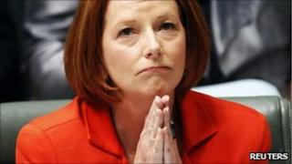 Australian Prime Minister Julia Gillard gestures during question time at Parliament House in Canberra May 10
