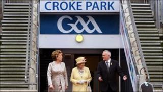 The Queen, President Mary McAleese and GAA president Christy Cooney at Croke Park