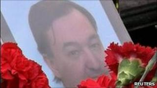 Flowers on grave of Sergei Magnitsky