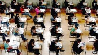 Pupils sitting GCSE exams