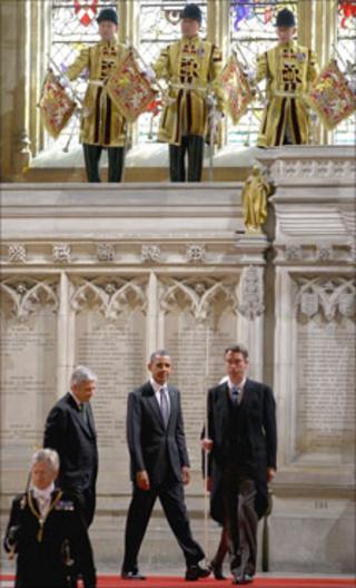 President Obama arrives for speech in Westminster Hall