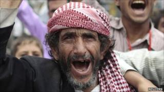 Anti-government protester during a rally in Sanaa, 25 May, 2011