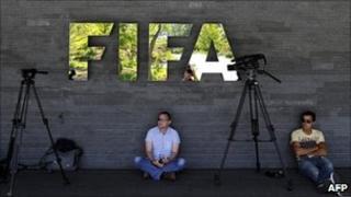 Camera crews outside Fifa headquarters