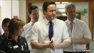 David Cameron, Nick Clegg and Andrew Lansley visiting a hospital