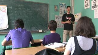 History teacher Davit Bragvadze takes a class