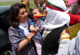 Leyla Zana (head uncovered) meets supporters